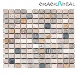 Tumbled Travertine Marble Mixed Mosaic Tile