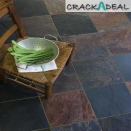 Un-calibrated Natural Slate Sheera Multi Colour (30x30) Tile