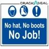 Scan No Hat, No Boots, No Job - Pvc (600 X 400mm)