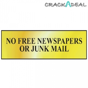 Scan No Free Newspapers Or Junk Mail - Polished Brass Effect (200 X 50mm)