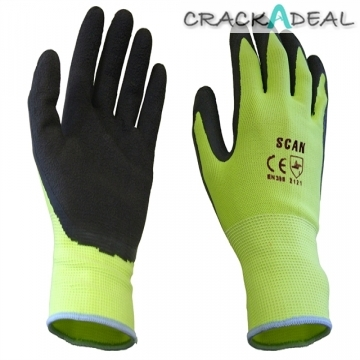 Scan Scaglolatyxl Yellow Foam Latex Coated Glove 13g Xl
