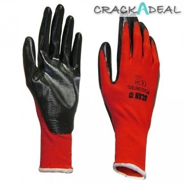 Scan Scaglonitbl Palm Dipped Black Nitrile Gloves Large