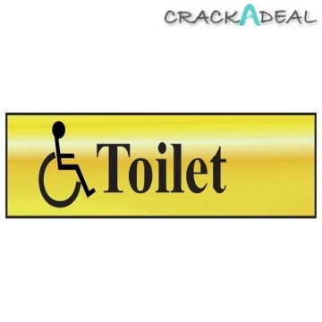 Scan Toilet (with Disabled Symbol) - Polished Brass Effect (200 X 50mm)