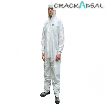 Scan White Medium Chemical Splash Resistant Disposable Coverall
