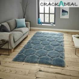 Noble House Nh30782 Blue Shaggy Hand Tufted Rug - 70% Acrylic 30% Polyester