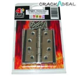 Firestop Hinge 2 Ball Bearing Satin Steel C/w Hinge Plates 3mm X 76mm X 102mm Pack Of 3